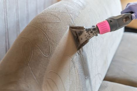 Upholstery extraction process in Mesquite, TX.